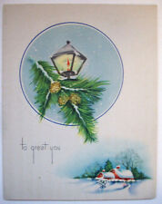 House in the woods night lantern Christmas vintage greeting card *J