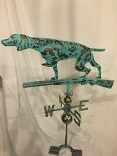 Large Handcrafted 3D 3-Dimensional Dog and Gun Weathervane Copper Patina Finish