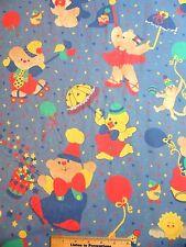 "Vtg Circus Print Decorator Fabric BARNEYS BIG TOP  Cheri L Strole 11 Yds 54"""