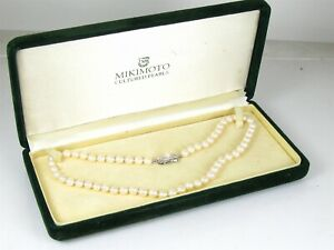 "Vintage Sterling Silver 6.3mm Akoya Pearl Mikimoto Necklace 22.1g 16""L"