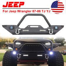 Rock Front Bumper Led Lights &w/Winch Plate &D-rings 87-06 Jeep Wrangler TJ YJ N