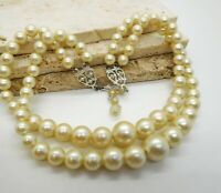 Vintage Layered Double Strand Off-White Lucite Pearl Bead Choker Necklace JJ37