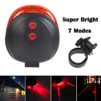 2 Laser +5 LED Flashing Lamp Light Rear Cycling Bicycle Bike Warning Safety Tail