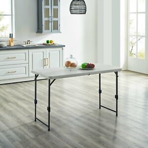 Mainstays 4' Height Adjustable Fold in Half Table, White Granite