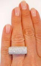 Pave Diamond 14K White Gold Modernist Contemporary Designer Cocktail Saddle Ring
