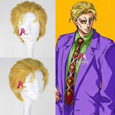 JOJO'S BIZARRE ADVENTURE Kira Yoshihiro Short Wavy Men Golden Anime Cosplay Wig