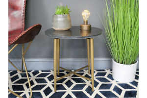 Iron & Marble Side Table | Black with Gold Legs | Height 45 cm