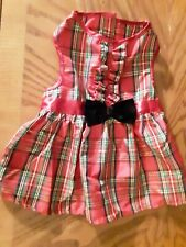 New listing Christmas Dress Outfit for Your Dog/Cat-Red Plaid/Gold Glittery Nice Free Ship
