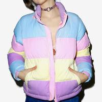 Women Winter Warm Loose Puffer Rainbow Jacket Coat Parkas Hooded Padded Outwear