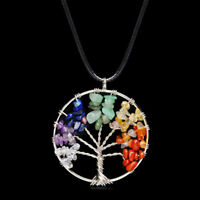 Natural Gemstone 7 Chakra Healing Tree of Life Round Pendant Necklace Charming
