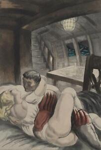 BERTHOMME SAINT ANDRE :  le navigateur et l'amante - Lot de 2 EAUX FORTES, 1931