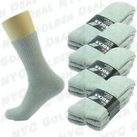 Gray 12 Pairs Ankle/Quarter Crew Mens Socks Cotton Long Size 9-11 10-13 Sports