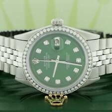 Vintage Rolex Datejust 36mm Steel Jubilee w/Forest Green Diamond Dial & Bezel
