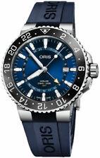 New Oris Aquis GMT Date Blue Dial Blue Rubber Strap Men's Watch 79877544135RS