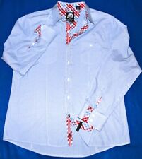 XL GREAT ENGLISH LAUNDRY LIGHT BLUE DAMASK PINSTRIPED RED PLAID TRIM MENS SHIRT