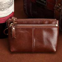 Women Genuine Leather Mini Wallet Coin Card Keychain Holder Zipper Clutch Purse