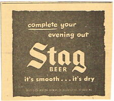 "Tough 1949 Stag Beer 4x4 inch advert ""Evening Out"" Tavern Trove Griesedieck"