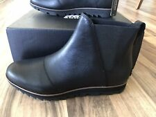 NEW SOREL Women Black Leather Harlow Chelsea Ankle Boots Size 10