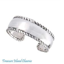 Silver Adjustable Toe Or Pinky Ring Milgrain Border Edge .925 Solid Sterling