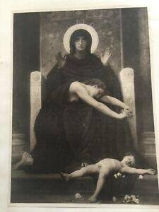ANTIQUE PRINT DATED 1901 VIERGE CONSOLATRICE WILLIAM ADOLPHE BOUGUEREAU RELIGION