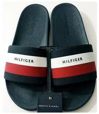 Tommy Hilfiger Mens Navy Blue Red White Pool Slides Sandals Slippers Size 10