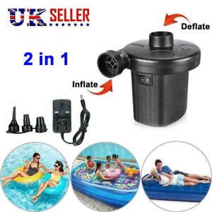 Electric Air Pump Inflator for Inflatables Bed Air Mattress Sofa Toy 240V 12V UK
