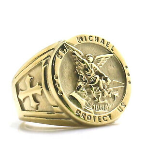 St Michael Archangel Warrior Guardian Wing Cross Stainless Steel Gold Color Ring