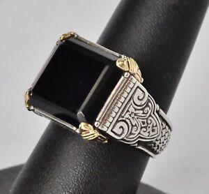 Konstantino Men's Black Rectangle Onyx Ring Size 12 Sterling Silver 18K Gold New