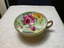 Antique Nippon Moustache Tea Cup Roses Hand Painted Green Red