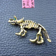Bone Betsey Johnson Brooch Pin Gold Alloy Enamel Crystal Triceratops Dinosaur
