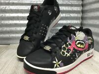 Marc Ecko Red Black Leather Glitter Flowers accents Girls Youth Shoe  Size 8.5