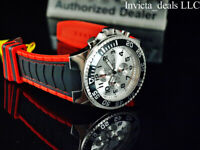 Invicta Men 52mm Pro Diver TURBO Chronograph SILVER DIAL Black/Red Tone SS Watch