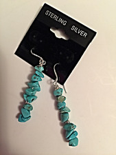 Navajo style Sterling silver 925' Turquoise stone Chips beads earrings .Pretty!