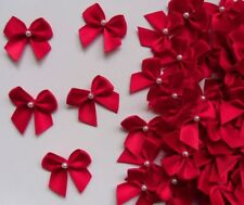 """1"""" Red Satin Ribbon Bows w/Beads-50 pcs- Christmas / Crafts / Appliques-R0034R"""
