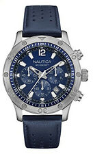 Nautica Men's Chronograph Quartz Stainless Steel Blue Leather Watch NAD16547G