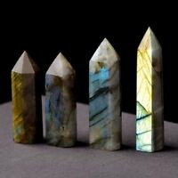 Natural`Labradorite Moonstone Quartz Crystal Stone Point Healing Hexagonal Wand@