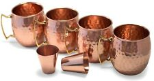 Moscow Mule Copper Mug 6 Piece Set, Four 18oz Hammered Cup, Two 2oz Shot Gl