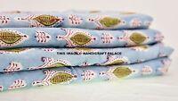 2.5 Yard Indian Hand Block Print Fabric 100 % Cotton Blue Floral Print Fabric