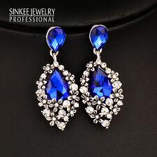 Fashion Vintage Water Drop Blue Zircon Earrings For Women Antique Silver ES599