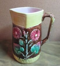 """Fabulous Antique Majolica Pitcher 8"""" POSIES & LEAVES"""