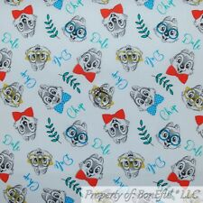 BonEful FABRIC FQ Cotton Quilt White Red Blue Chip N Dale Chipmunk Disney Retro
