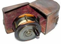 Stunning Scottish pattern laburnum wood & brass salmon fly reel c 1900 & case
