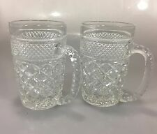 Anchor Hocking Wexford Set of 2 Clear Glass Mugs 12 oz 5 x 3""
