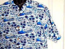 ODO Mens Hawaiian Shirt Vintage Cuban Collar Palm Trees Hibiscus USA XLarge