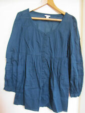 Monsoon Dark Green Thin Cotton 3/4 Sleeve Smock Top / Blouse in Size 10