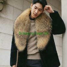 Hot Men Faux Mink Fur Collar Winter Thick Coat Jacket Overcoat Parka Outwear