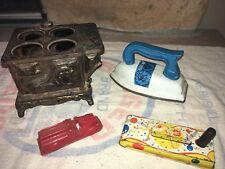Lot Vintage Toy Cast Iron Metal Stove Car Noise Maker Old Antique Tin Truck