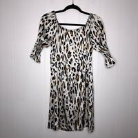 Alberto Makali Women's Leopard Off Shoulder Mini Dress 100% Silk Ivory Size S