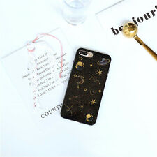 Cute Glitter Constellation Saturn Moon Soft Case Skin for iPhone X 6 6s 7 8 Plus Clear for Huawei P8