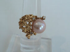 UNUSUAL ESTATE 14K GOLD, 10mm PINK PEARL & DIAMOND RING, Size 6.25